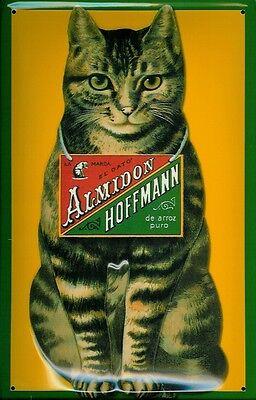 Blechschild Hoffmann Stärke gestreifte Katze Schild retro Werbeschild Nostalgie