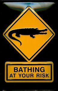 Bathing-At-Your-Risk-Letrero-de-metal-signo-3d-EN-RELIEVE-Arqueado-Cartel-lata