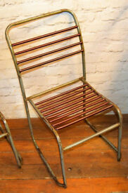 12 available metal stacking vintage chairs garden kitchen dining antique industrial seating school