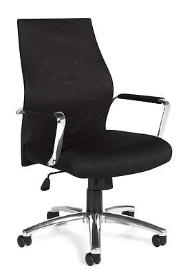 Lot Of 8 Black Mesh Conference Room Table Chairs