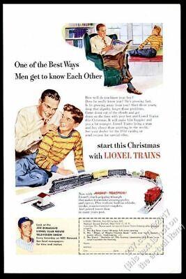 1950 Lionel electric toy train set father son Christmas art vintage print ad