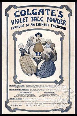 1903 Colgate's Violet Talc Powder illustrated vintage print ad