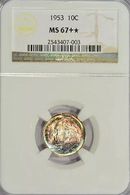 Click now to see the BUY IT NOW Price! 1953 ROOSEVELT DIME/ NGC MS67 / STAR/ TONED TONING/ COIN1037005419