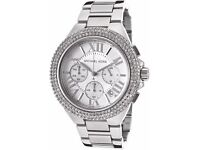 Michael Kors Brand New in Box with Tags Women's Chronograph Watch Silver Pave Crystal Camille MK5634