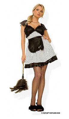 Kostüm Kostüm Frau Magd Schwarz und Weiß Gepunktet Hustler - Schwarze Und Weiße Frauen Kostüm