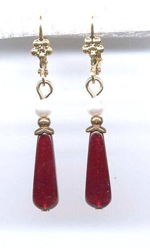 BOHEMIAN GARNET BRIOLETTE crystal SEED PEARL Earrings 14K Gold gp Vintage Czech