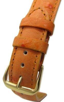 High Grain (Orange Ostrich Grain Genuine Leather Padded High Quality Watch Band)
