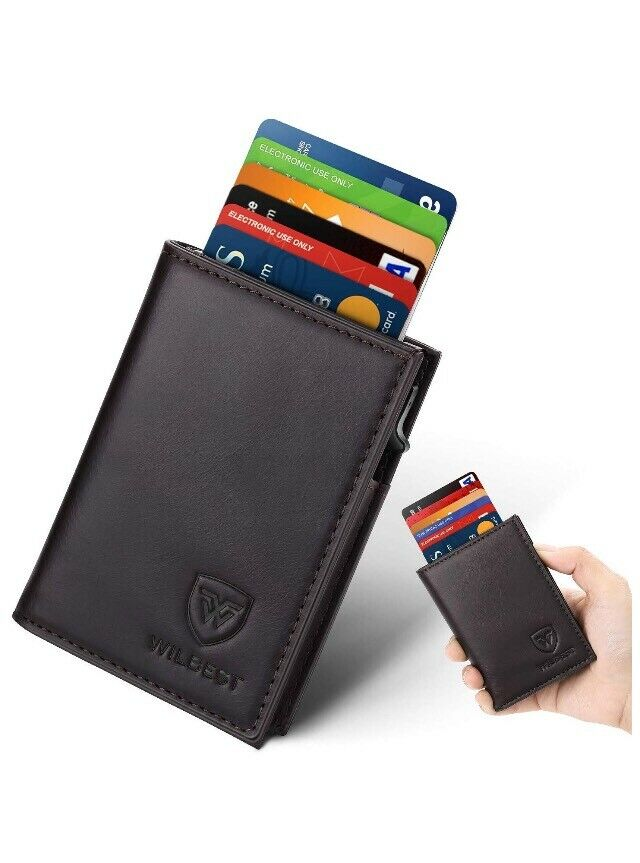 CREDIT CARD HOLDER MENS LUXURY SOFT QUALITY LEATHER WALLET PURSE BLACK UK SELL