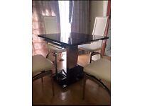 Stylish extendable mirror dinning table set