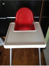 Red Ikea Antilop High Chair and Tray