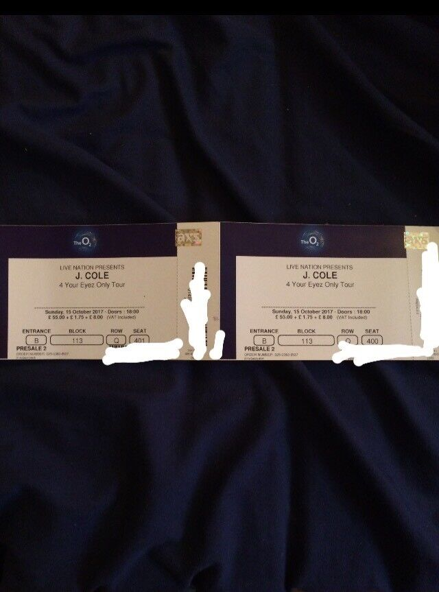 x2 J Cole Tier 1 Block 113 Seated tickets O2 Arena London Sunday 15th October