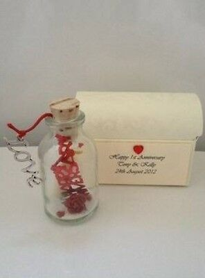 PERSONALISED 1ST FIRST PAPER WEDDING ANNIVERSARY MESSAGE IN A BOTTLE GIFT CARD