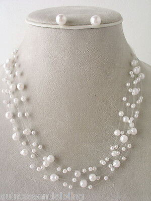 Beach Bridal Party Faux White Pearl Floating Illusion Necklace & Earrings Set