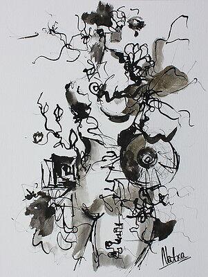 """ART-BOXXX """"DER FRÜHLING"""" Original Tuschezeichnung /30x40cm AKT abstrakt akt Frau"""