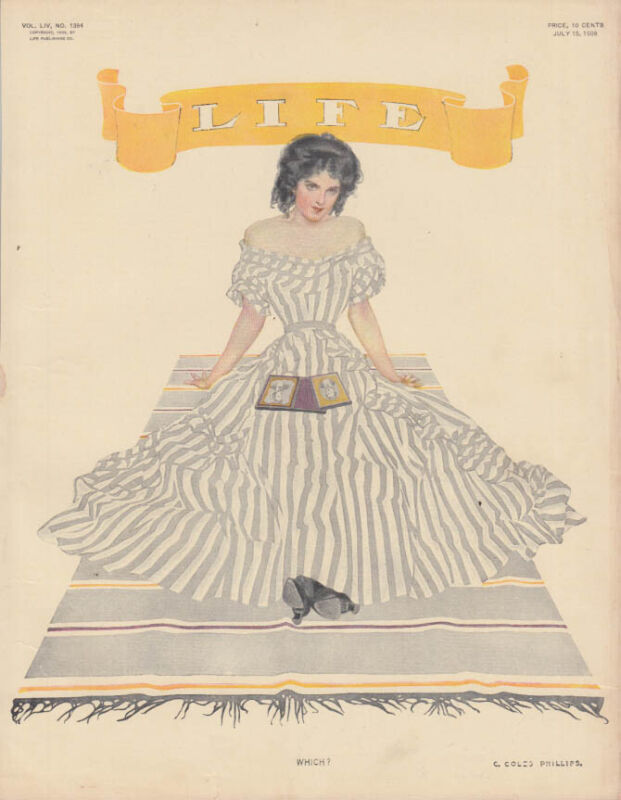 LIFE Magazine cover pretty girl w/ daguerreotype by C Coles Phillips 1909