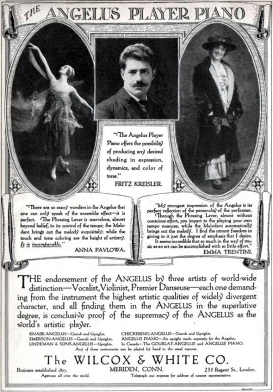 Angelus Player Piano Fritz Kreisler ANNA PAVLOVA Emma Trentini 1915 Print Ad