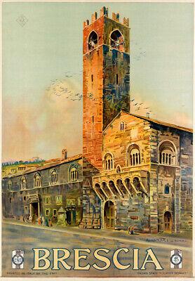 Brescia Vintage Italian Travel Advertising Poster Giclee Canvas Print 20X29
