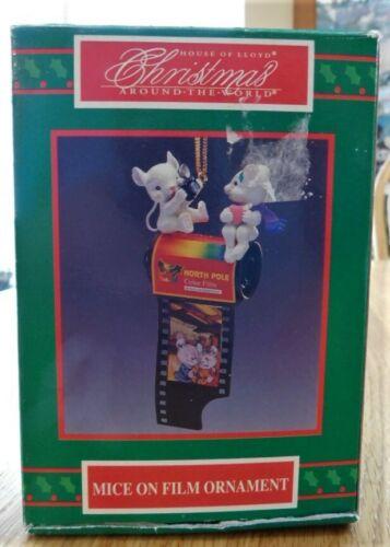 Vintage 1995 Lustre Fame~MICE ON FILM~Christmas Ornament/Box~Mouse CATW