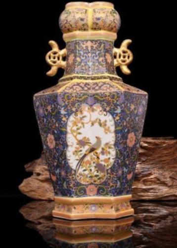 "9/"" China antique Porcelain qing yongzheng colour enamels Gild flowers Vase"