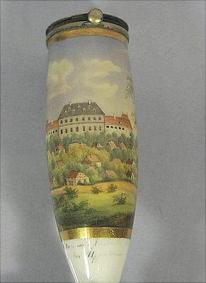 Alte Pfeife Hohlach mit Schloß  Biedermeier um 1830 handgemalt Uffenheim Pipa
