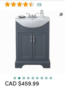 Bathroom vanity 24 inch Bnib grey cabinet white top
