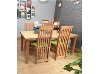 Pine dinning table and six chairs