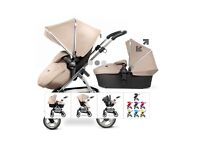 Silver Cross Wayfarer - Crome in Sand. Complete pram, carrycot, car seat and accessories