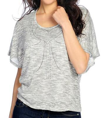 NEW - One World Metallic Knit Elbow Sleeve Embellished Top w/ Attached Tank - Metallic Knit Tank