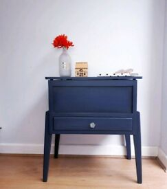 Small Cupboard / Console Table / Vintage Sewing Chest Navy Blue Mid-Century Upcycled NEWLY PAINTED