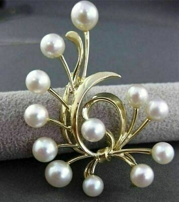 ESTATE LARGE 14KT YELLOW GOLD MIKIMOTO AAA SOUTH SEA PEARL BOW PIN BROOCH #23634