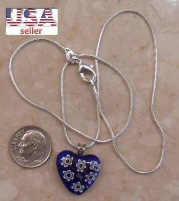 AUTHENTIC blue MILLEFIORI HEART from MURANO sterling silver SJ940-27  ()