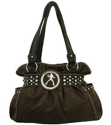 Presley Brown Leather - Brown Elvis Presley Rhinestone & Studded Accented Gathered Top Handbag