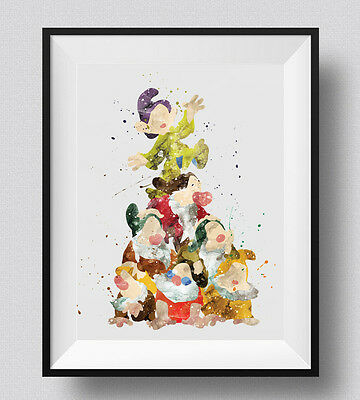 Seven Dwarfs Watercolor Print Disney Nursery Decor Snow White Party Decor idea ()
