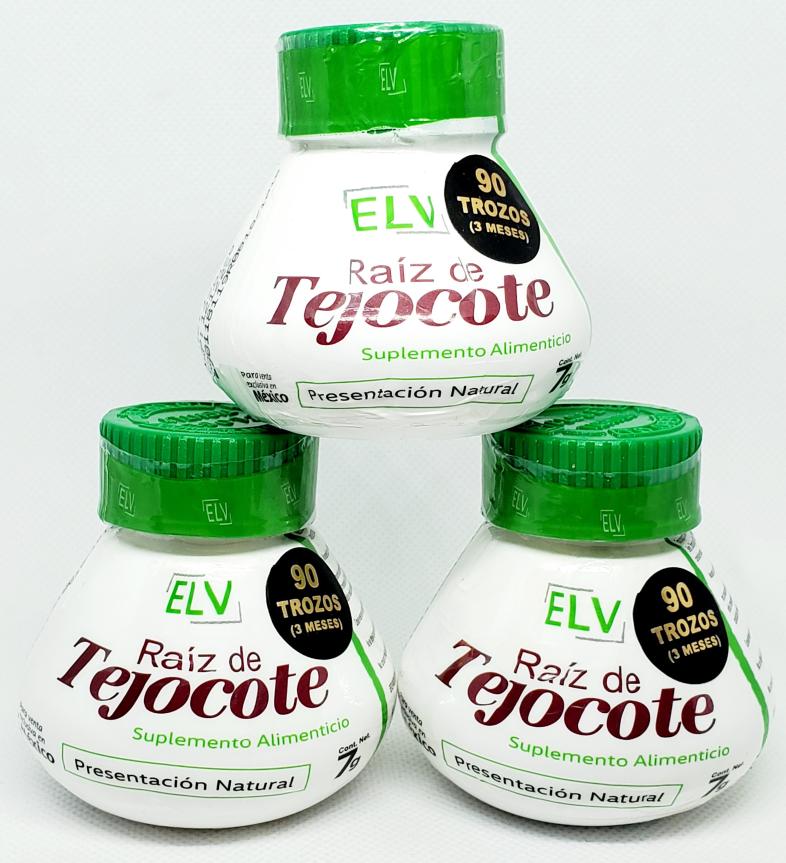 Raiz de tejocote Elv 3 Month Supply root 90 trozos de raiz 100% Natural 3 Pack