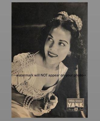Sexy Pin-up Girl PHOTO WW2 Pinup Yank Magazine Girl Hilda Simms 1945 US Army