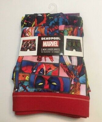New Mens Deadpool Stretch Boxer Briefs 2 Pair Small Or XLarge