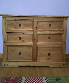 Large Mexican pine 6 drawer unit