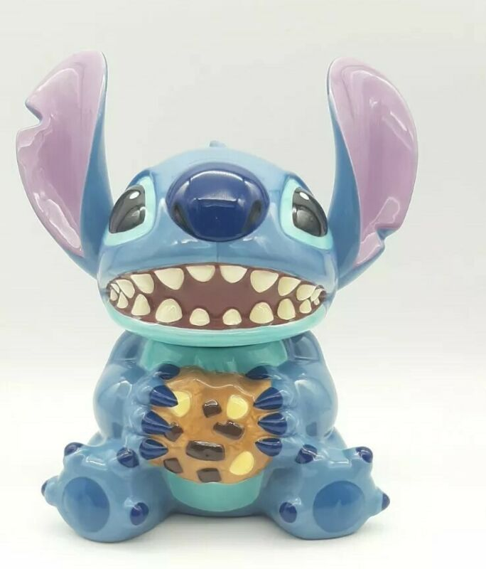 "Disney Stitch Cookie Jar 12"" Holding Cookie HTF"