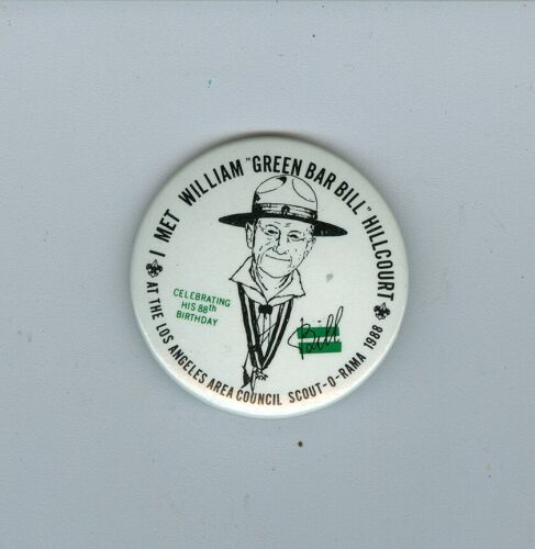 1988 Boy Scout Los Angeles Area Council Green Bar Bill Hillcourt Pinback