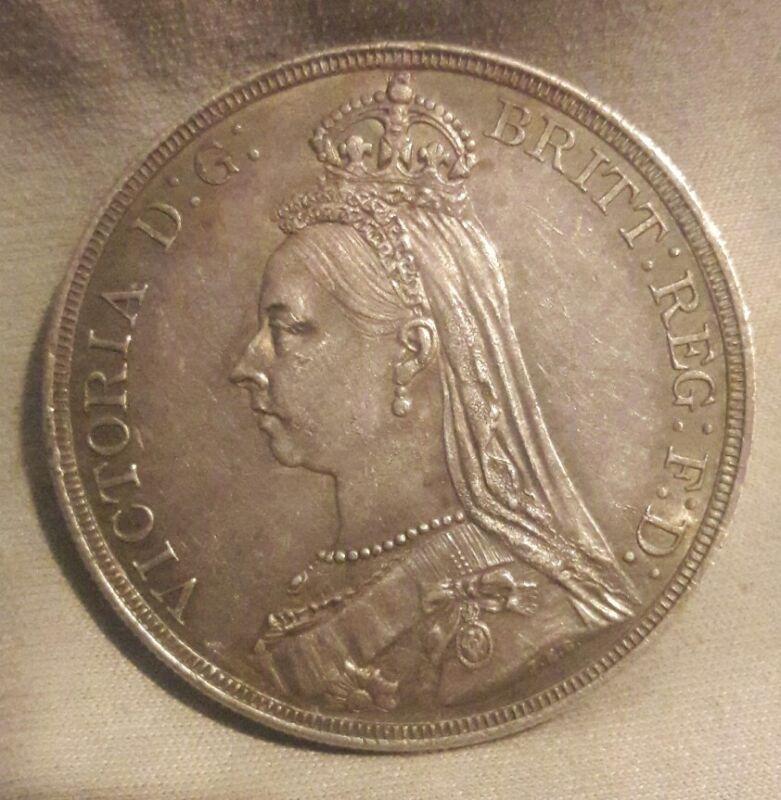 Great Britain 1887 Victoria Jubilee Silver Crown Very High Grade AU+