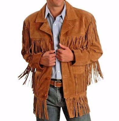 NEW Mens Western Cowboy wear Brown Suede Leather Jacket with fringes mens