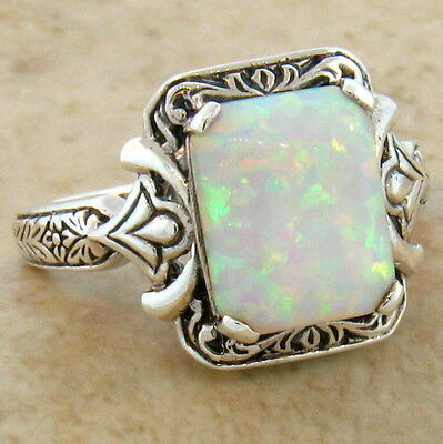 LAB OPAL ANTIQUE VICTORIAN DESIGN 925 STERLING SILVER RING SIZE 7.75,       #468