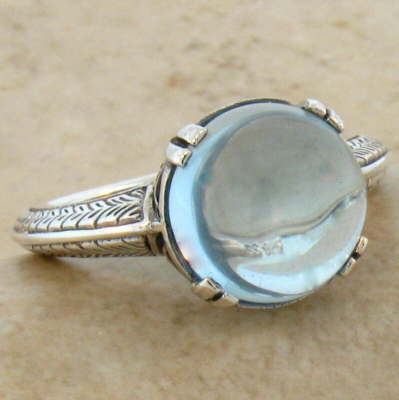 5 CT. GENUINE BLUE TOPAZ CABOCHON ART DECO 925 SILVER RING SIZE 9,          #472
