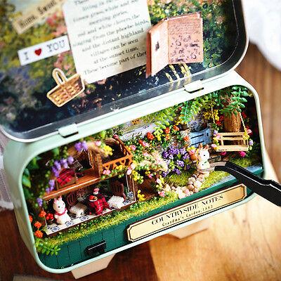 DIY Handcraft Miniature Project Kit Dolls House Countryside Memories Tin Box
