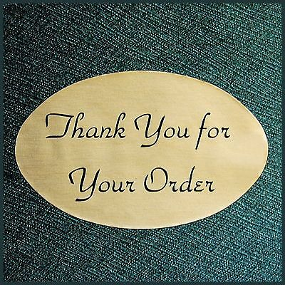 Oval 1.25x2 Gold Thank You For Your Order Stickers Labels Lot100 Fast Shipping