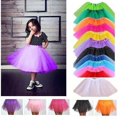 Kids Tutu Girls Fancy Dress Fun Party Gauze Ballet Dance skirt 3 Layers Costume
