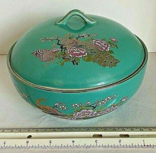 "Covered Bowl Porcelain Handprinted Peacock & Floral Gilt Japanese 8.5""  Marked"