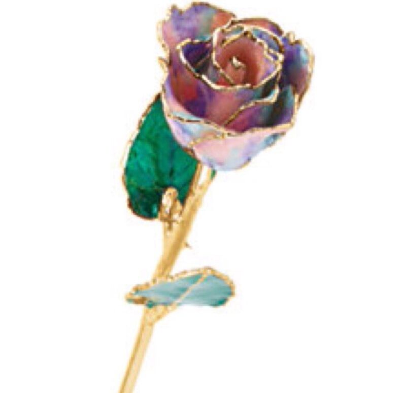 24K YELLOW GOLD DIPPED LACQUERED ROSE OPAL PASTEL TIE DYE Real Long Stem Rose