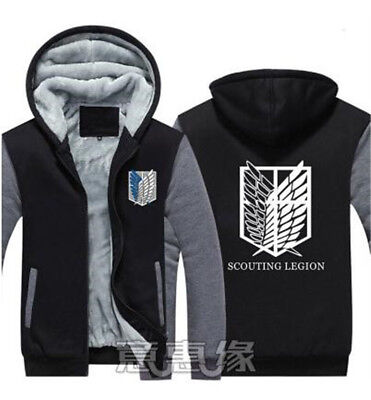 Attack On Titan Jacket Male (Attack on Titan Thicken Coat Winte Hoodie Winter Fleece Sweater Jacket)