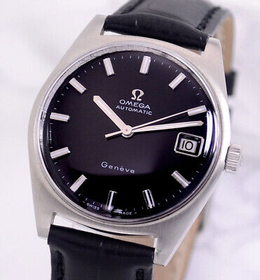 VINTAGE OMEGA GENEVE AUTOMATIC CAL565 DATE BLACK DIAL MEN
